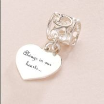 Memorial Charm, Always in Our Hearts, Sterling Silver